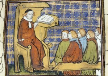 Medieval illumination of a university lecturer and gathering of students